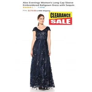NEW Alex Evenings Embroidered Dress with Sequin